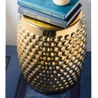 17 in. H Gold Ceramic Stool