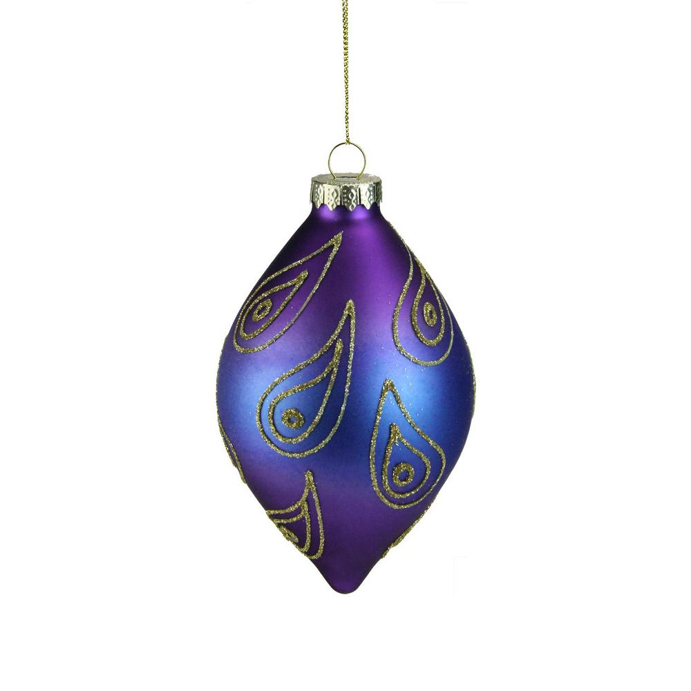 regal peacock purple blue and gold glittered glass finial christmas ornament - Blue And Gold Christmas Decorations
