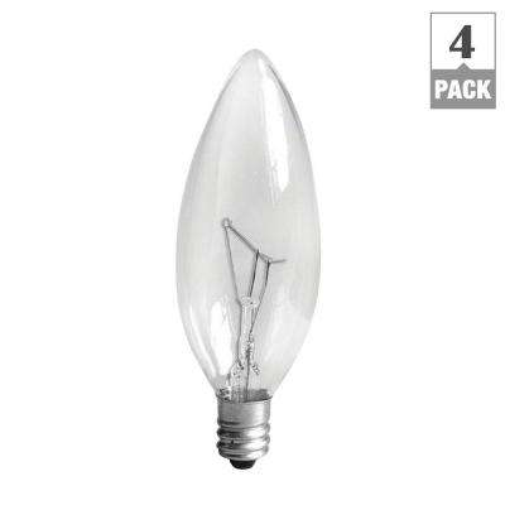 25-Watt Incandescent B10 Candelabra Base Double Life Multi-Use Decorative Light Bulb (4-Pack)
