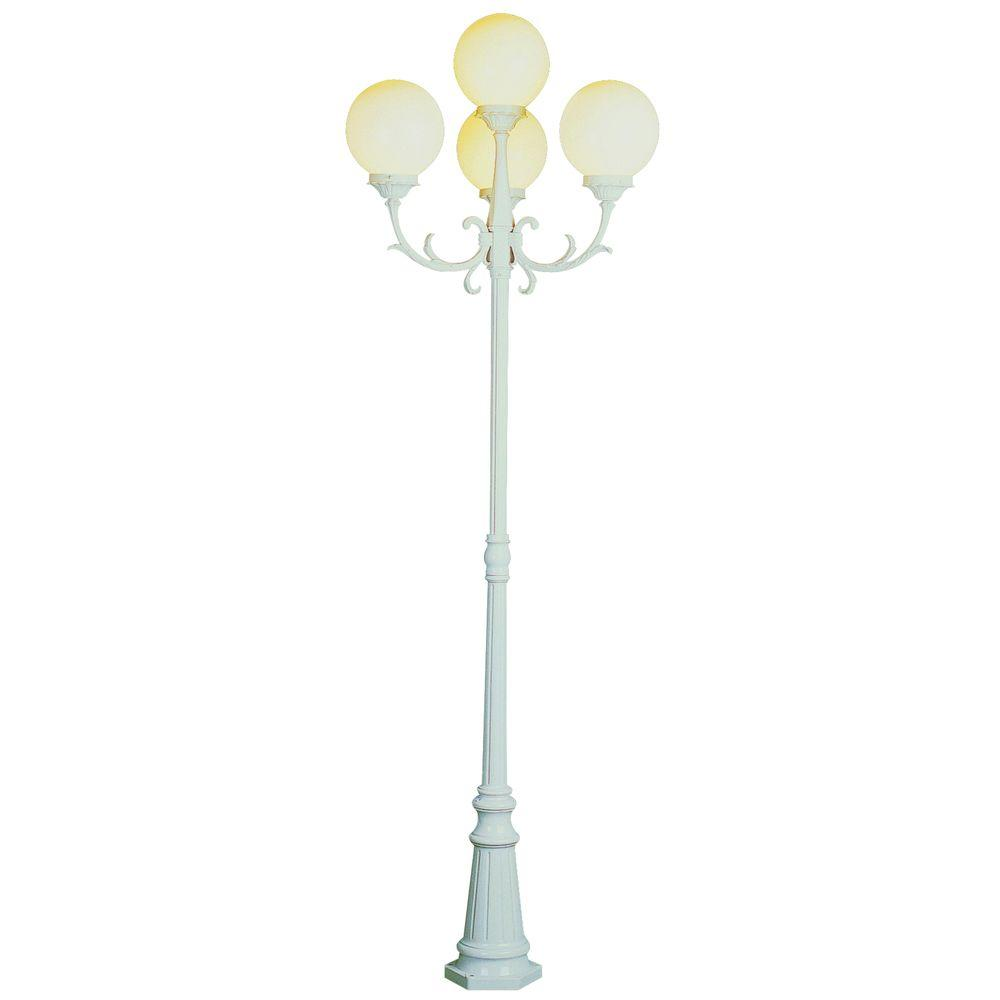 Bel Air Lighting Cabernet Collection 4 Light 89 in. Outdoor White Pole Lantern with White Opal Shade