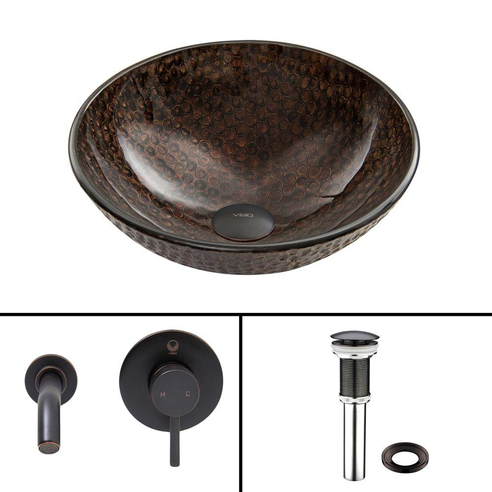 VIGO Glass Vessel Sink in Copper Shield with Olus Wall-Mount Faucet Set in Antique Rubbed Bronze