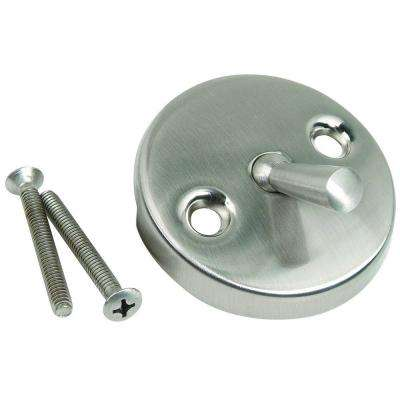 Overflow Face Plate with Trip Lever, Two Hole with Screws in Satin Nickel