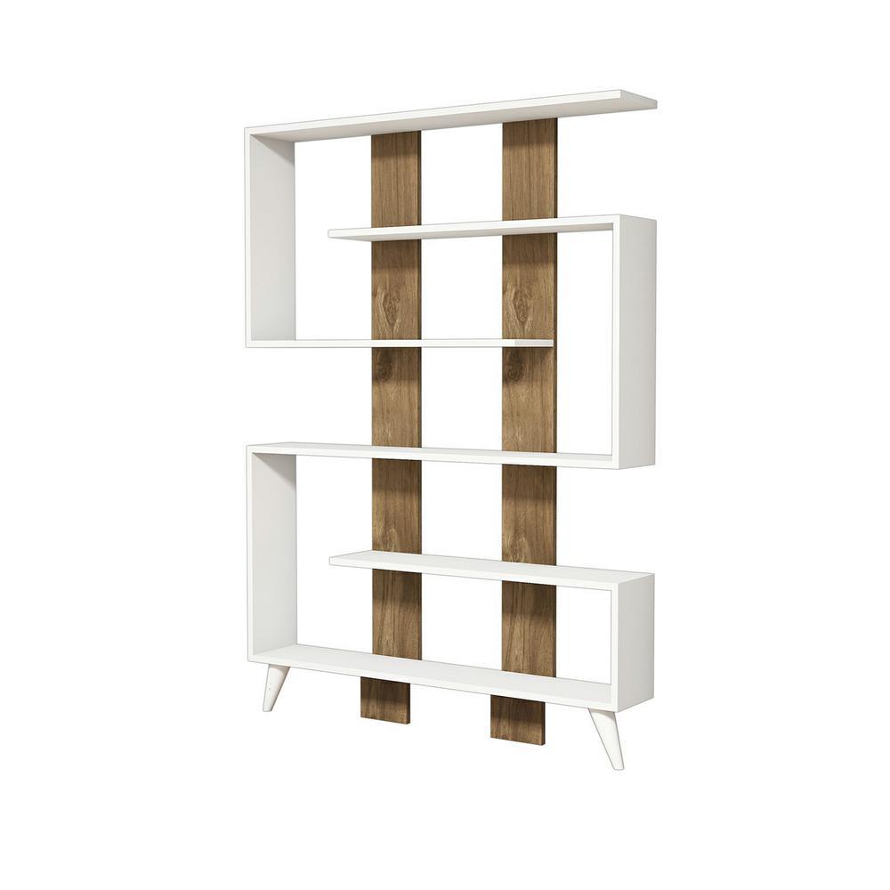 Bolvin White and Walnut Modern Bookcase