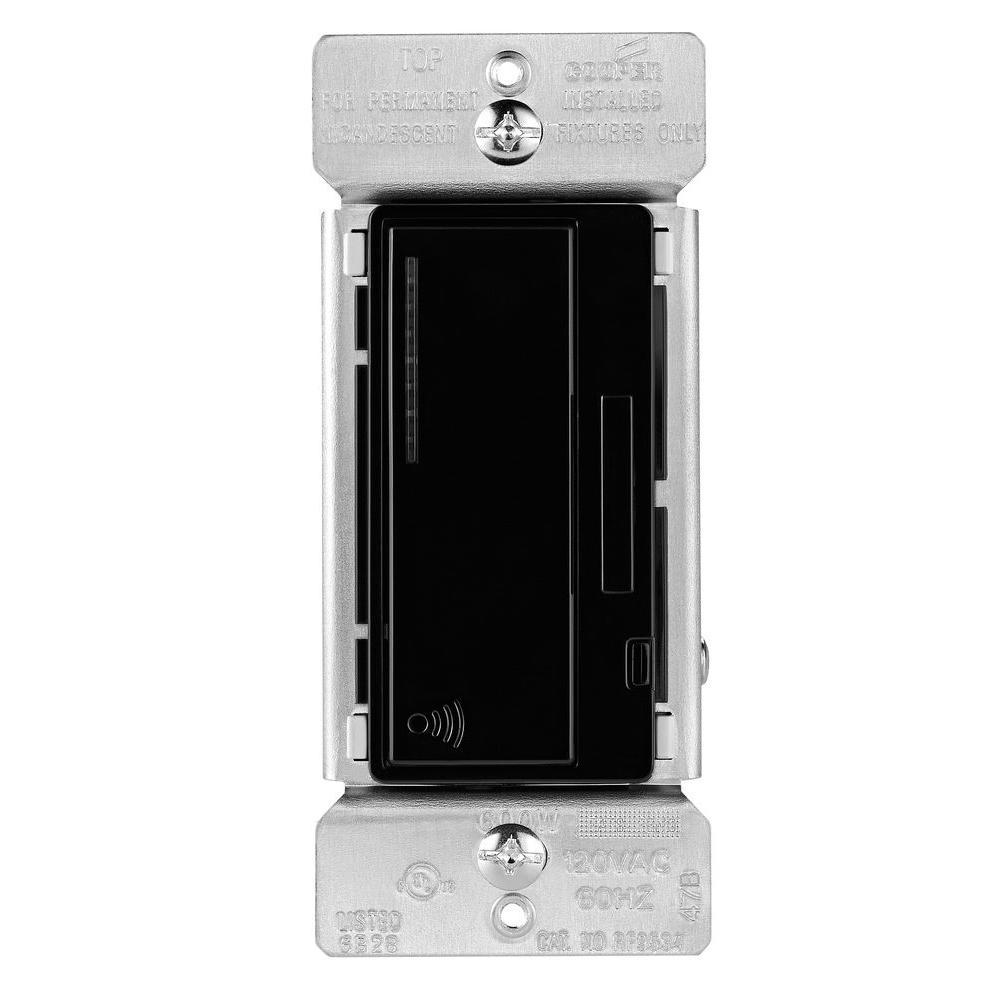 Eaton Aspire 600 Watt Rf Incandescent Mlv Smart Dimmer Black Decora 15 Amp 4way Switch Whiter58056042ws The Home Depot