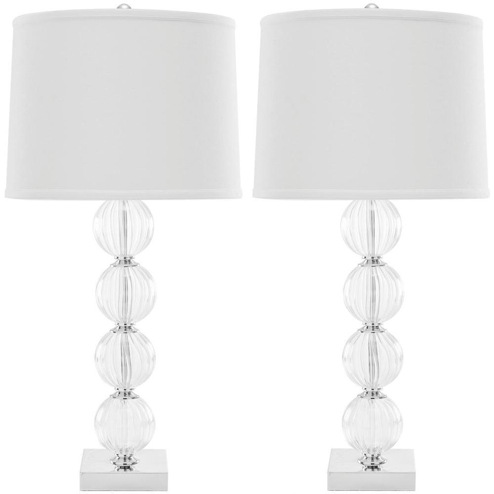 Amanda 30 in. White/Glass Crystal Glass Globe Lamp (Set of 2)