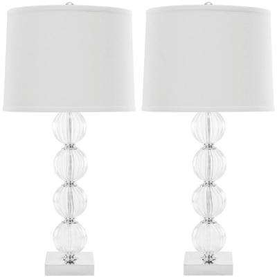 Amanda 30 in. White/Glass Crystal Glass Globe Lamp (Set of 2)
