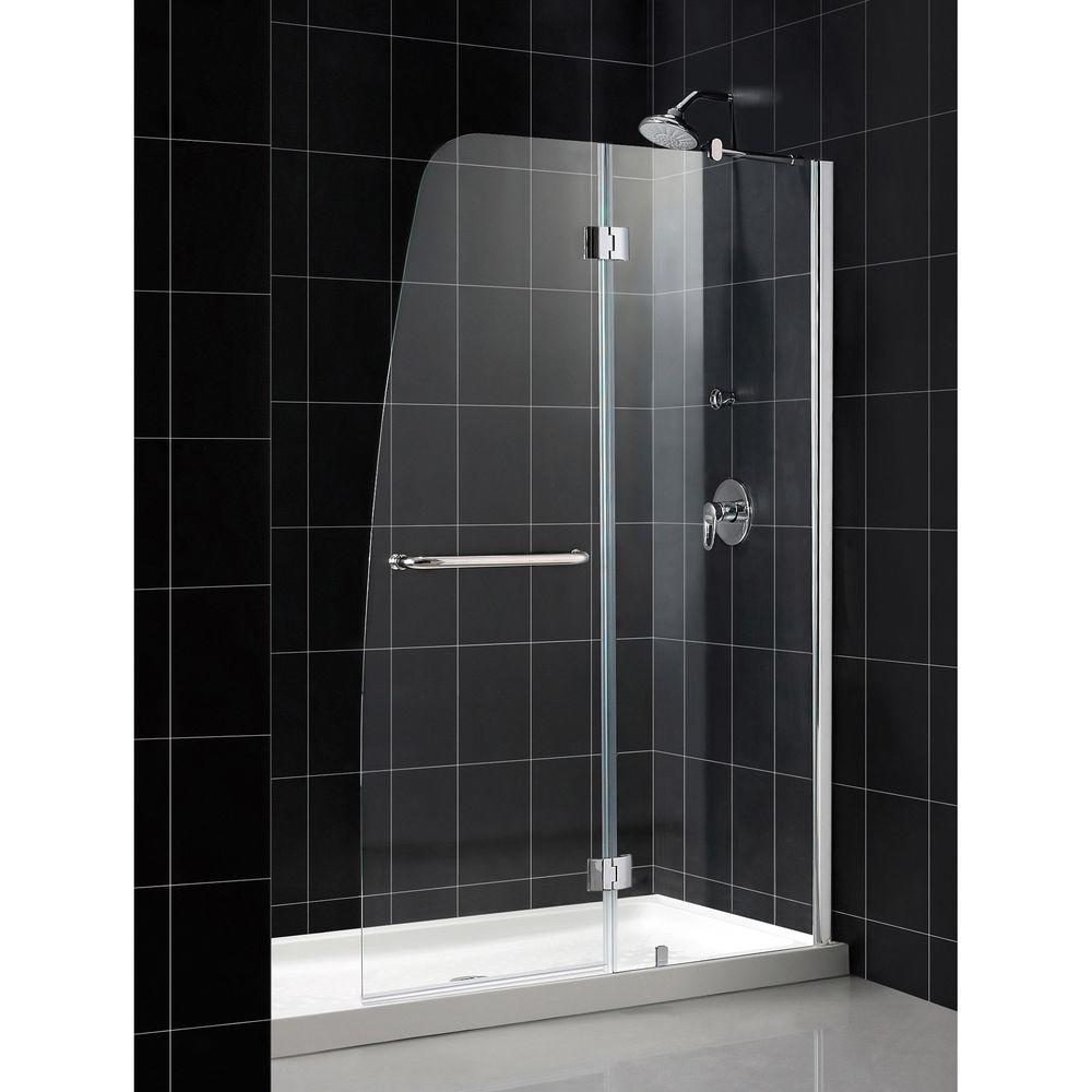 DreamLine Aqua 48 in. x 72 in. Frameless Hinge Shower Door in Chrome
