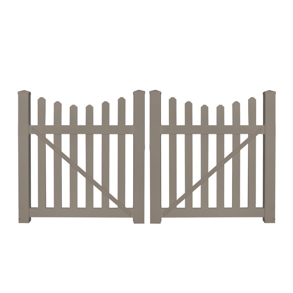 h khaki vinyl picket fence double gate