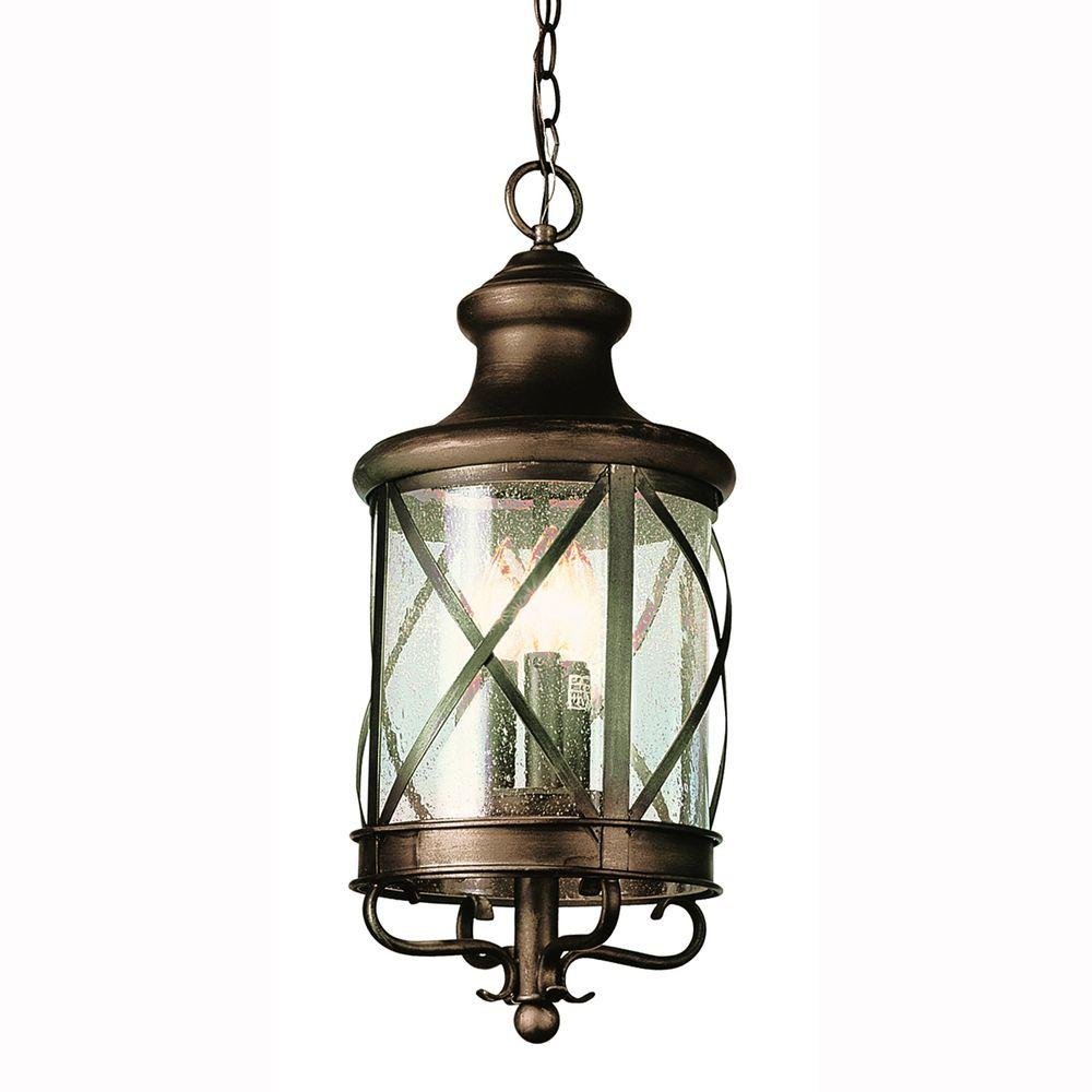 Bel Air Lighting Carriage House 4-Light Outdoor Antique Copper Hanging Lantern with Seeded Glass-DISCONTINUED