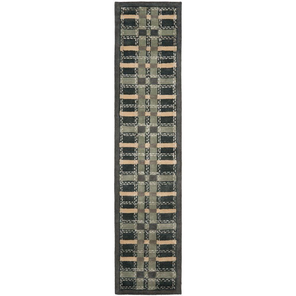 Safavieh Martha Stewart Color Weave Plaid Wrought Iron Navy 2 ft. 3 in. x 10 ft. Rug Runner