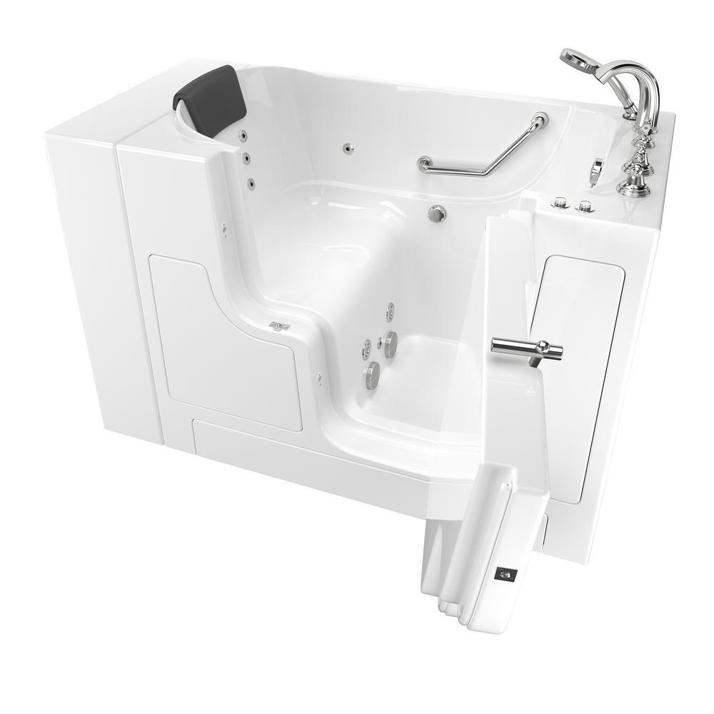 Gelcoat Premium 52 in. Right Hand Walk-In Whirlpool Bathtub in White