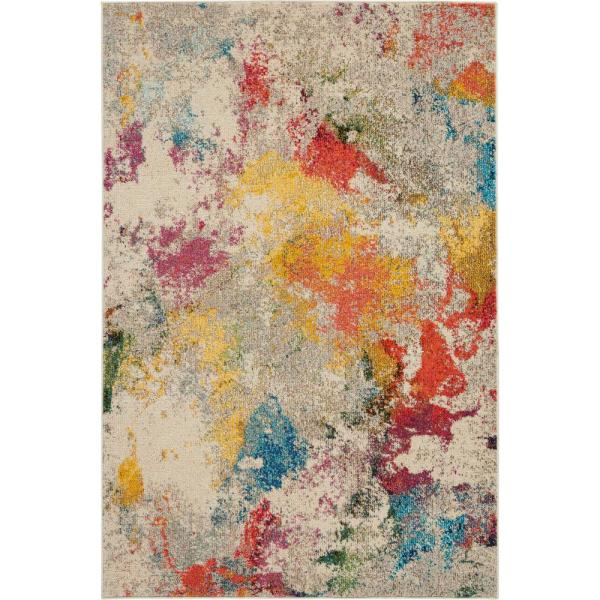 Celestial Janelle Ivory/Multicolor 5 ft. x 8 ft. Abstract Art Deco Area Rug