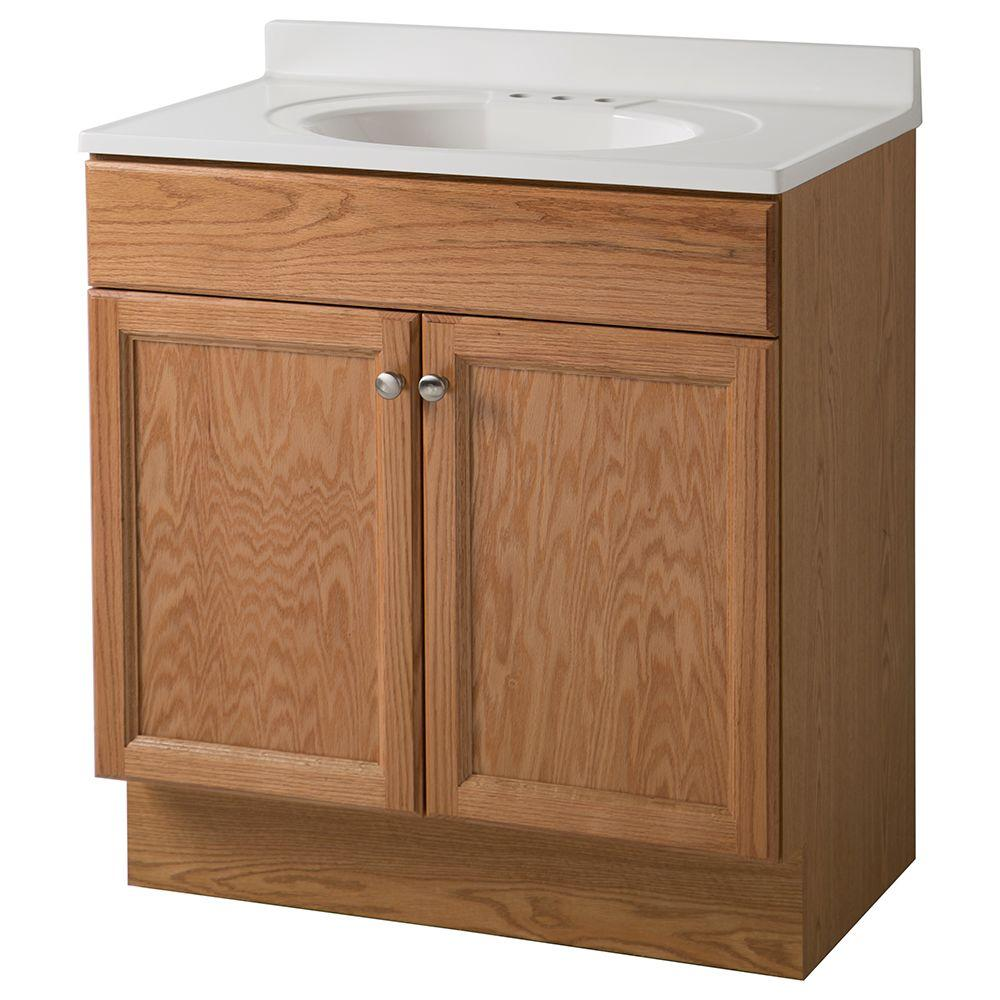 Glacier bay 30 in vanity in oak with cultured marble vanity top in white gb30p2 o the home depot - Cultured marble bathroom vanity tops ...