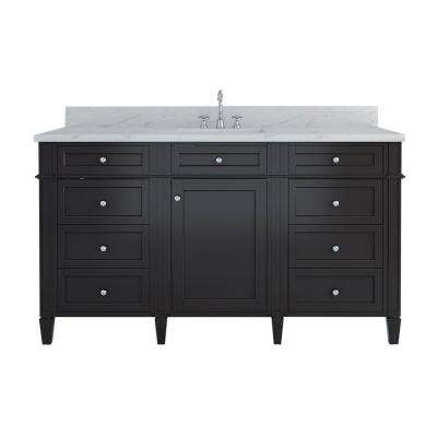 Samantha 60 in. W x 22 in. D Single Vanity in Espresso with Marble Vanity Top in White with White Basin