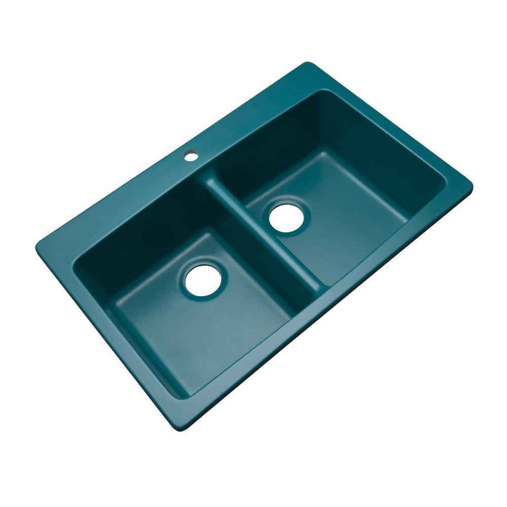 Franke Dual Mount Composite Granite 33 in. 1-Hole Double Bowl ...