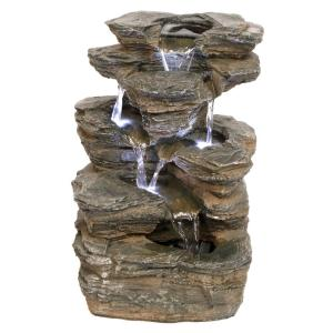 Devil's Thumb Falls Stone Bonded Resin Illuminated Garden Fountain