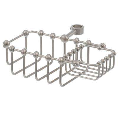 5-5/8 in. x 3-3/4 in. Riser Mount Soap Basket in Satin Nickel