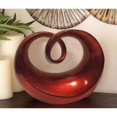 Glossy Red Polystone Abstract Sculpture