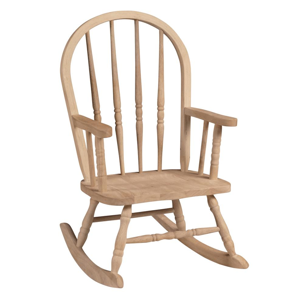 Superbe International Concepts Unfinished Wood Rocking Windsor Kids Chair