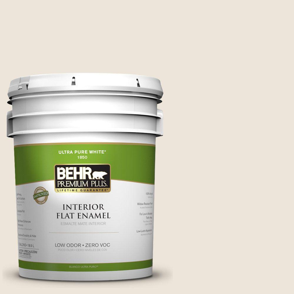 BEHR Premium Plus 5-gal. #ECC-36-2 Nesting Dove Zero VOC Flat Enamel Interior Paint-DISCONTINUED