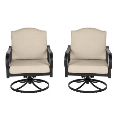 Laurel Oaks Brown Steel Outdoor Patio Lounge Chair with Cushion Guard Putty Tan Cushions (2-Pack)