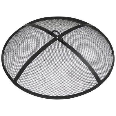 36 in. Round Black Steel Fire Pit Spark Screen