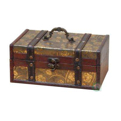 4 in. H x 9 in. W x 6 in. D Decorative Leather Treasure Trunk Box