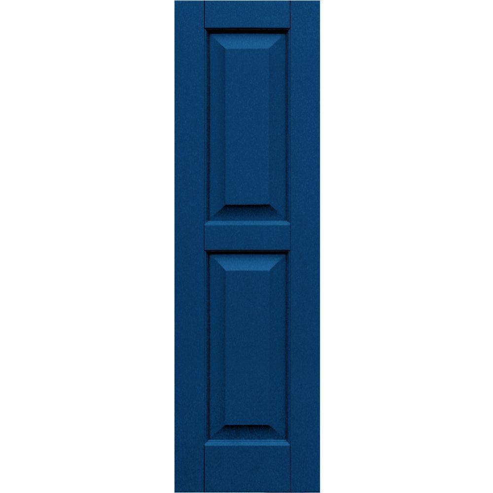 Winworks Wood Composite 12 in. x 41 in. Raised Panel Shutters Pair #637 Deep Sea Blue