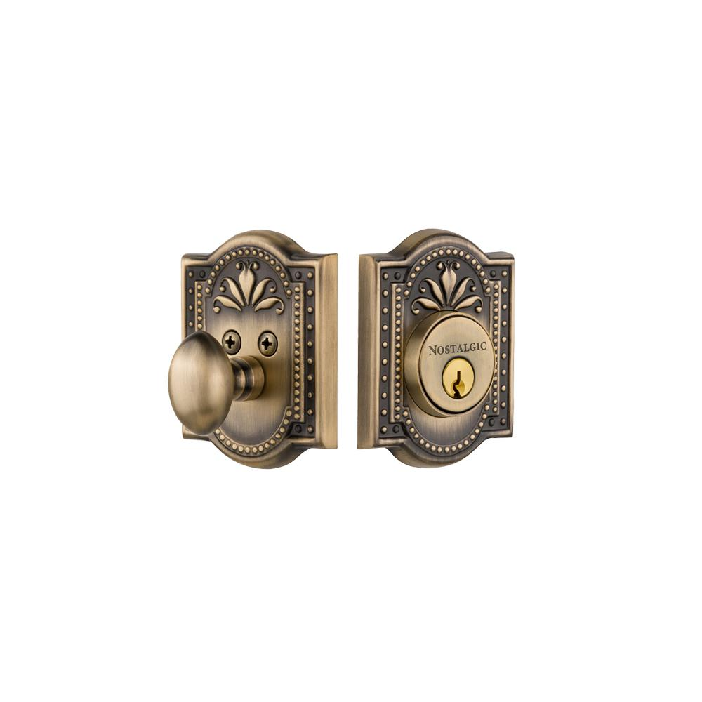 Meadows Plate 2-3/8 in. Backset Single Cylinder Deadbolt in Antique Brass