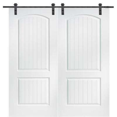 60 in. x 80 in. Primed Molded MDF Cashal Barn Door with Sliding Door Hardware Kit