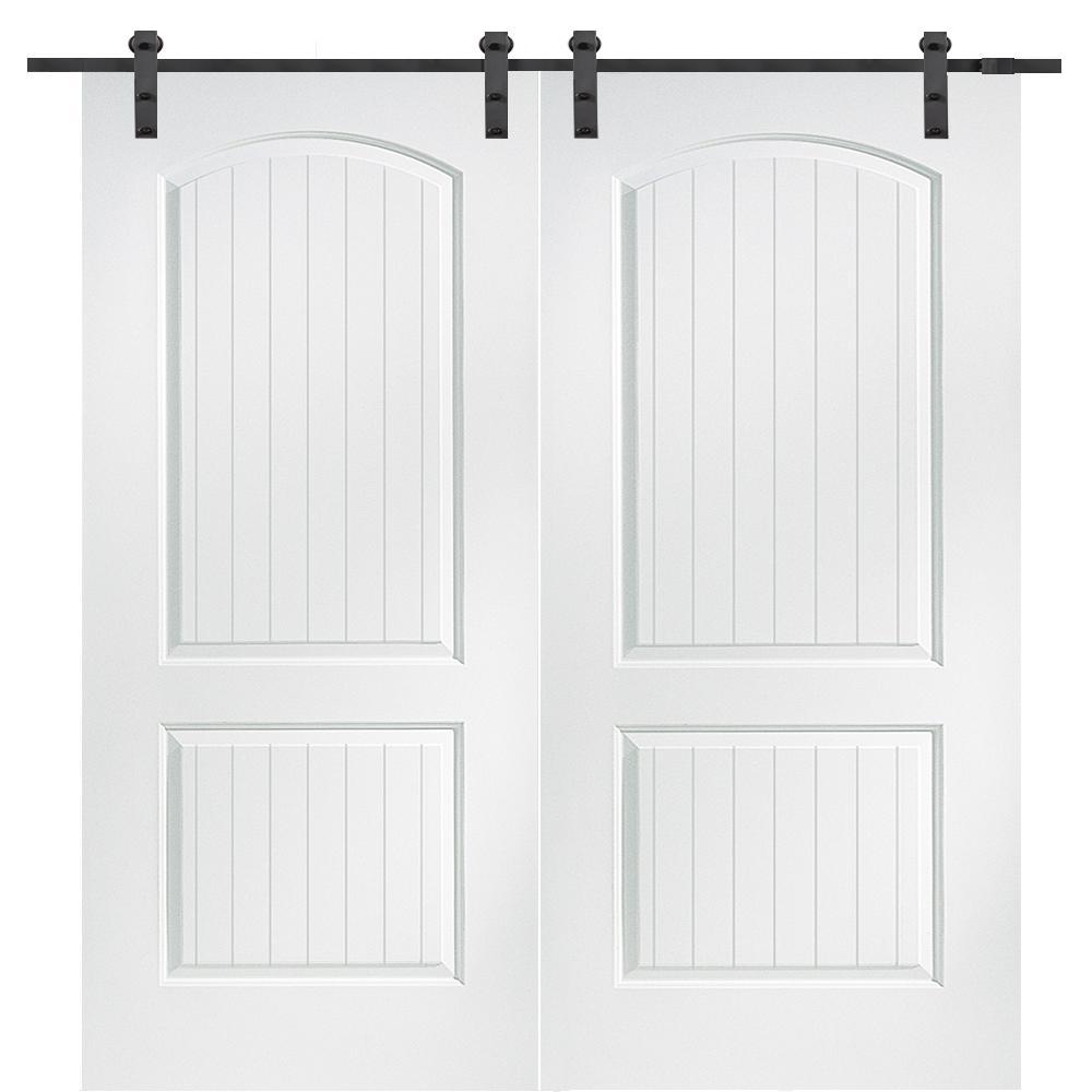 64 in. x 80 in. Primed Molded MDF Cashal Barn Door with Sliding Door Hardware Kit