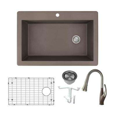 Radius All-in-One Drop-in Granite 33 in. 1-Hole Single Bowl Kitchen Sink with Faucet in Espresso