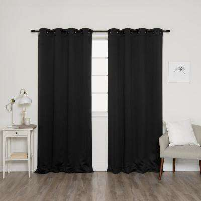 84 in. L Onyx Grommet Blackout Curtains in Black (2-Pack)