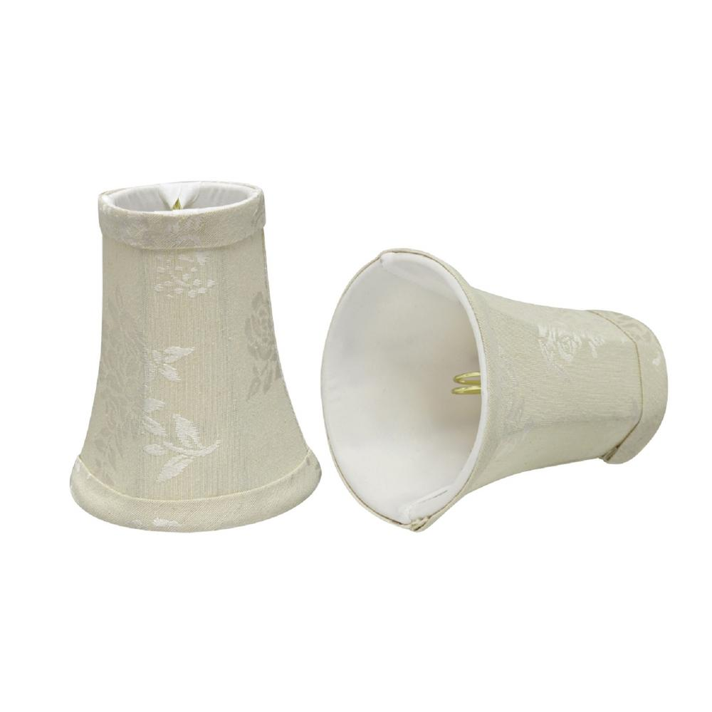 4 in. x 5 in. Creme and Leaf Design Bell Lamp