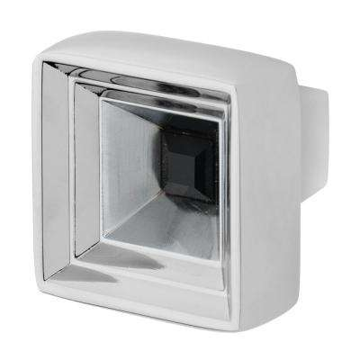 Hidden Treasure 1-1/16 in. Chrome with Black Crystal Cabinet Knob
