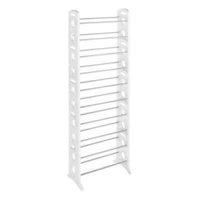 Shoe Rack Collection 22.5 in. x 62.25 in. 30-Pair Resin Floor Shoe Tower in White