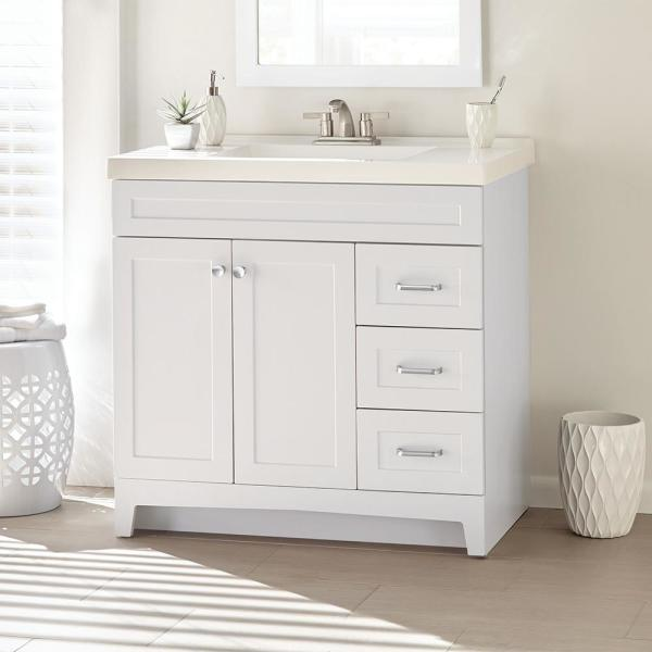 Home Decorators Collection Thornbriar 37 In W X 22 In D X 37 In H Bathroom Vanity In White With Cultured Marble Vanity Top In White Tb36p2v11 Wh The Home Depot