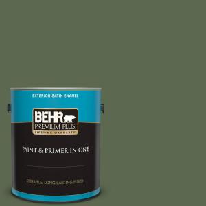Behr Premium Plus 1 Gal Icc 87 Rosemary Sprig Satin Enamel Exterior Paint And Primer In One 934001 The Home Depot