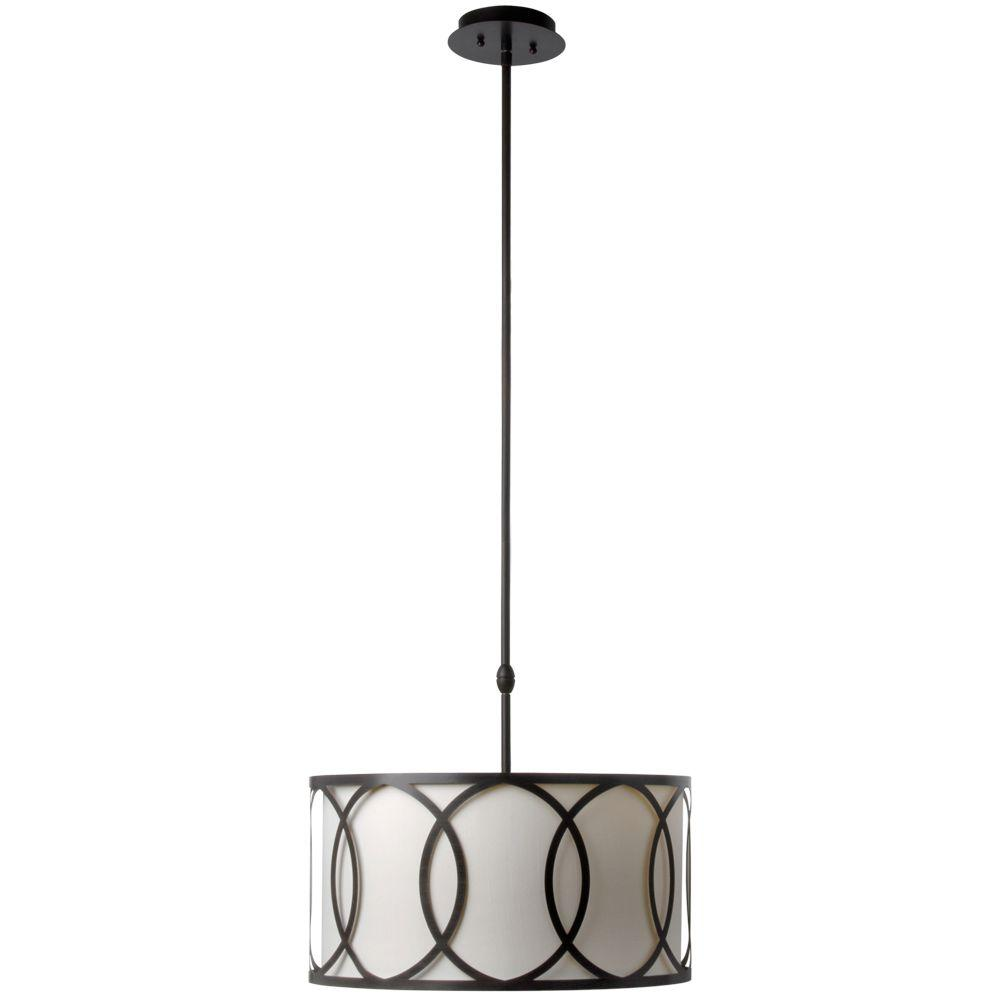 Hampton Bay Davenport 3 Light Oil Rubbed Bronze Pendant With White Fabric Drum Shade And Metal Overlay