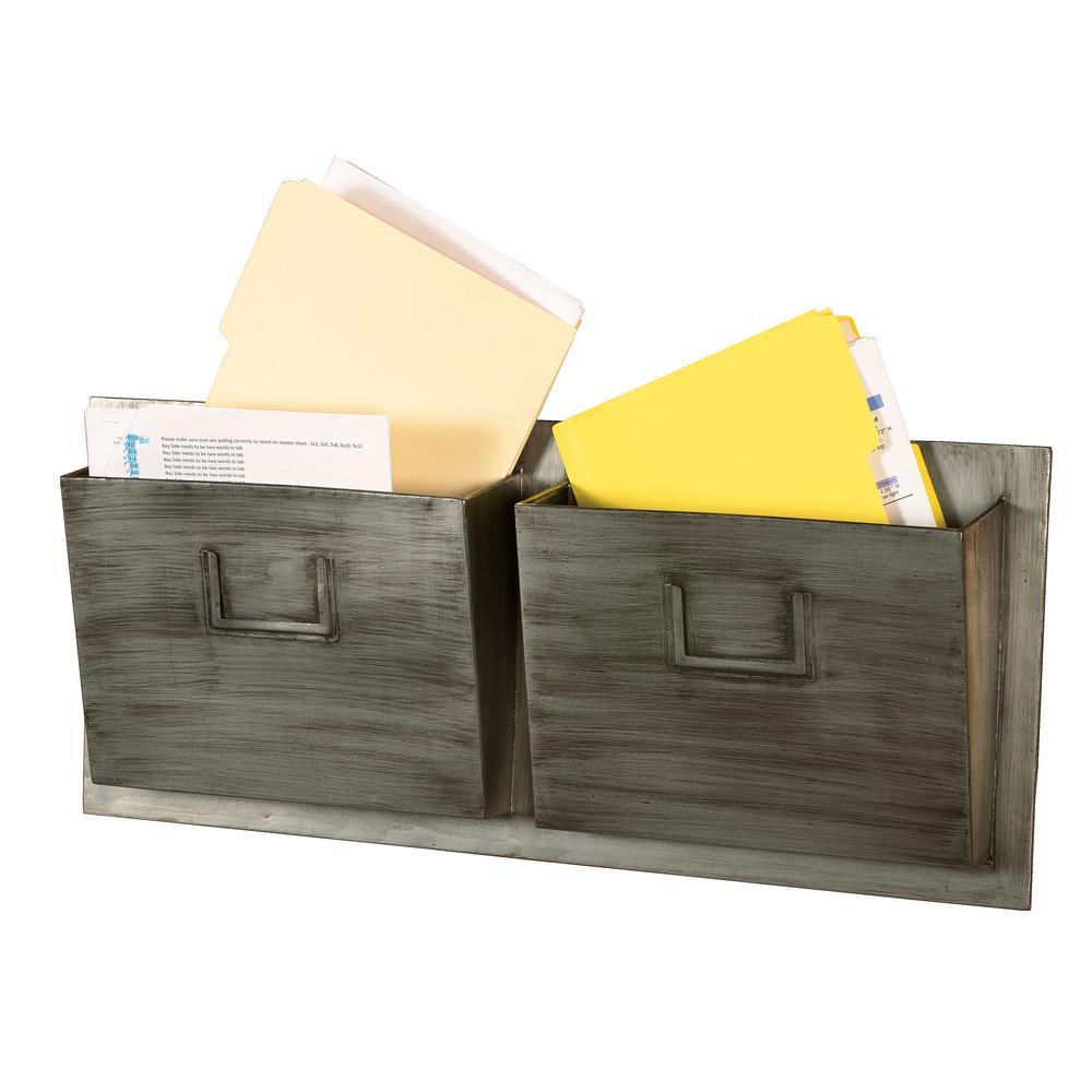 Linon Home Decor Industrial Metal Two Slot Mailbox - Horizontal