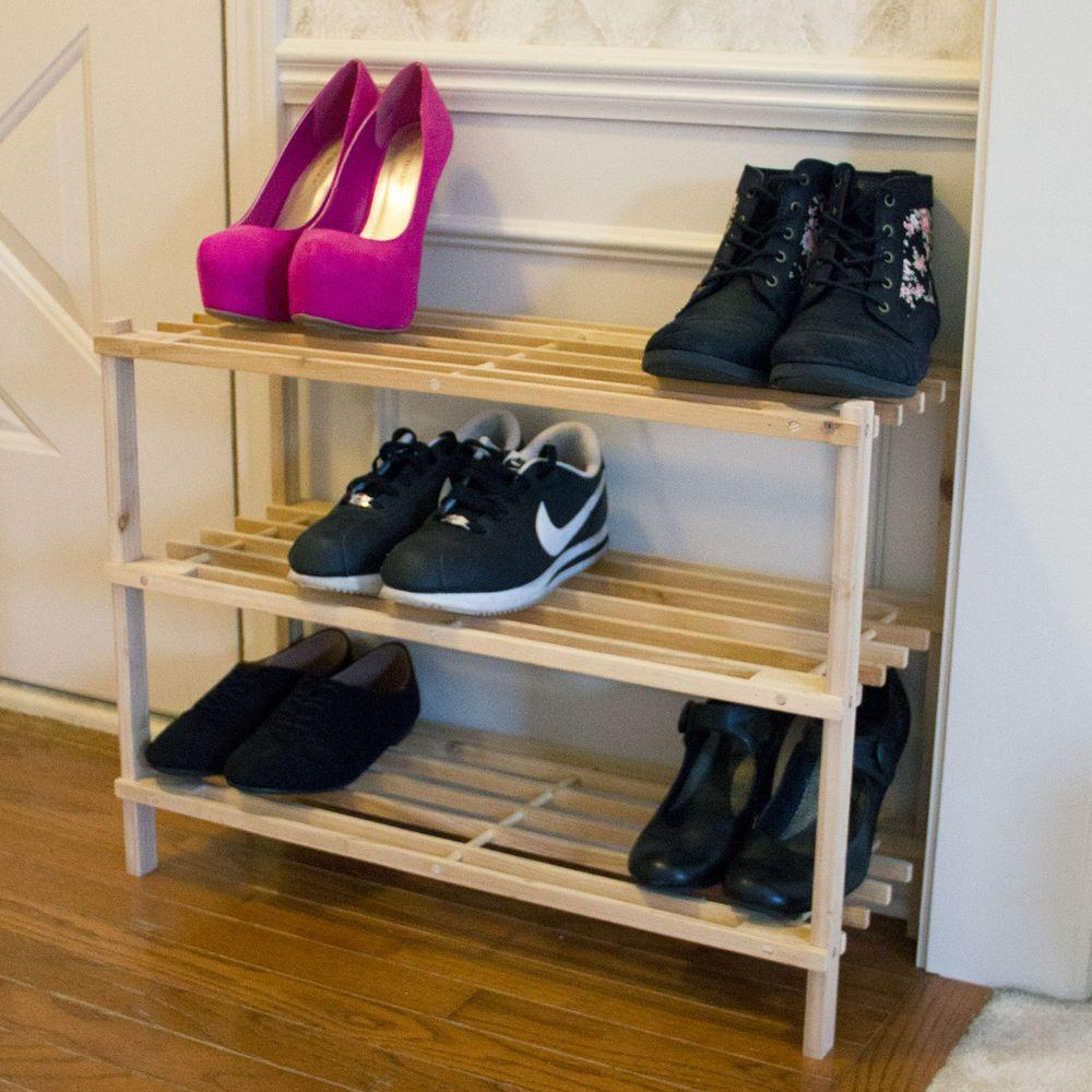 Blonde Wood Storage Shoe Organizer