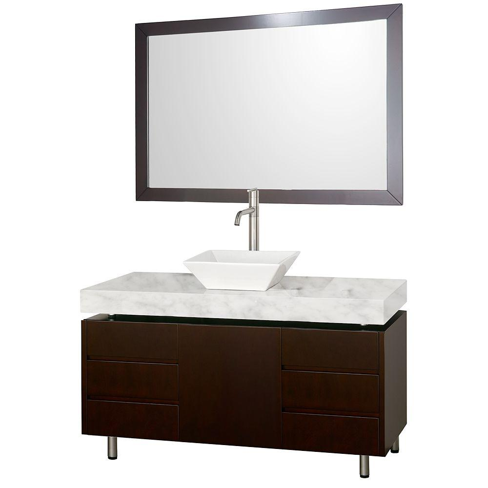 Wyndham Collection Malibu 48 in. Vanity in Espresso with Marble Vanity Top in Carrara White with White Porcelain Sink and Mirror