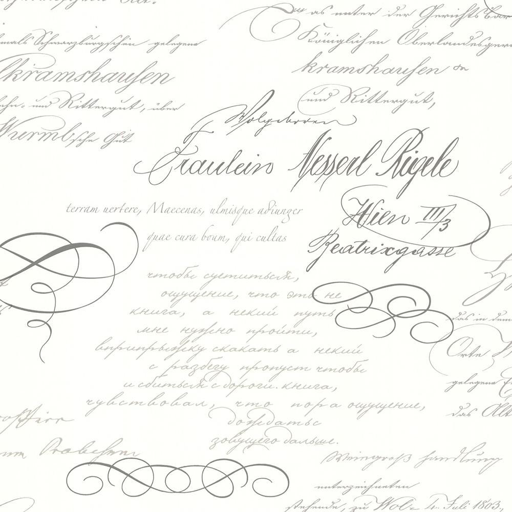 Brewster Brewster 56.4 sq. ft. Ferdinand Slate Poetic Script Wallpaper, Grey