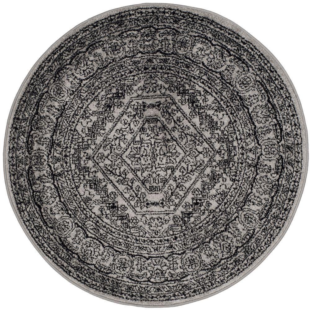 safavieh adirondack silver black 10 ft x 10 ft round area rug adr108a 10r the home depot. Black Bedroom Furniture Sets. Home Design Ideas
