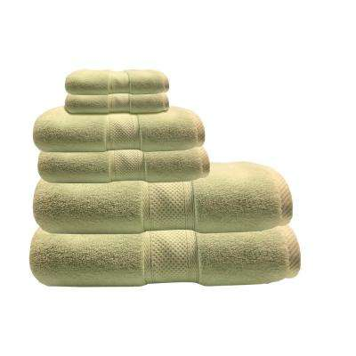Hotel Zero Twist 6-Piece 100% Cotton Bath Towel Set in Celery