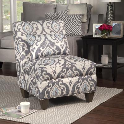 Blue and Cream Slate Large Accent Chair with Pillow