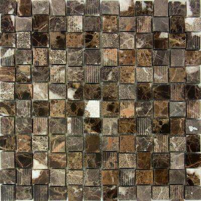 Marble Medley Dark Emperador Basketweave 12 in. x 12 in. x 7.9 mm Mixed Finish Marble Mesh-Mounted Mosaic Tile