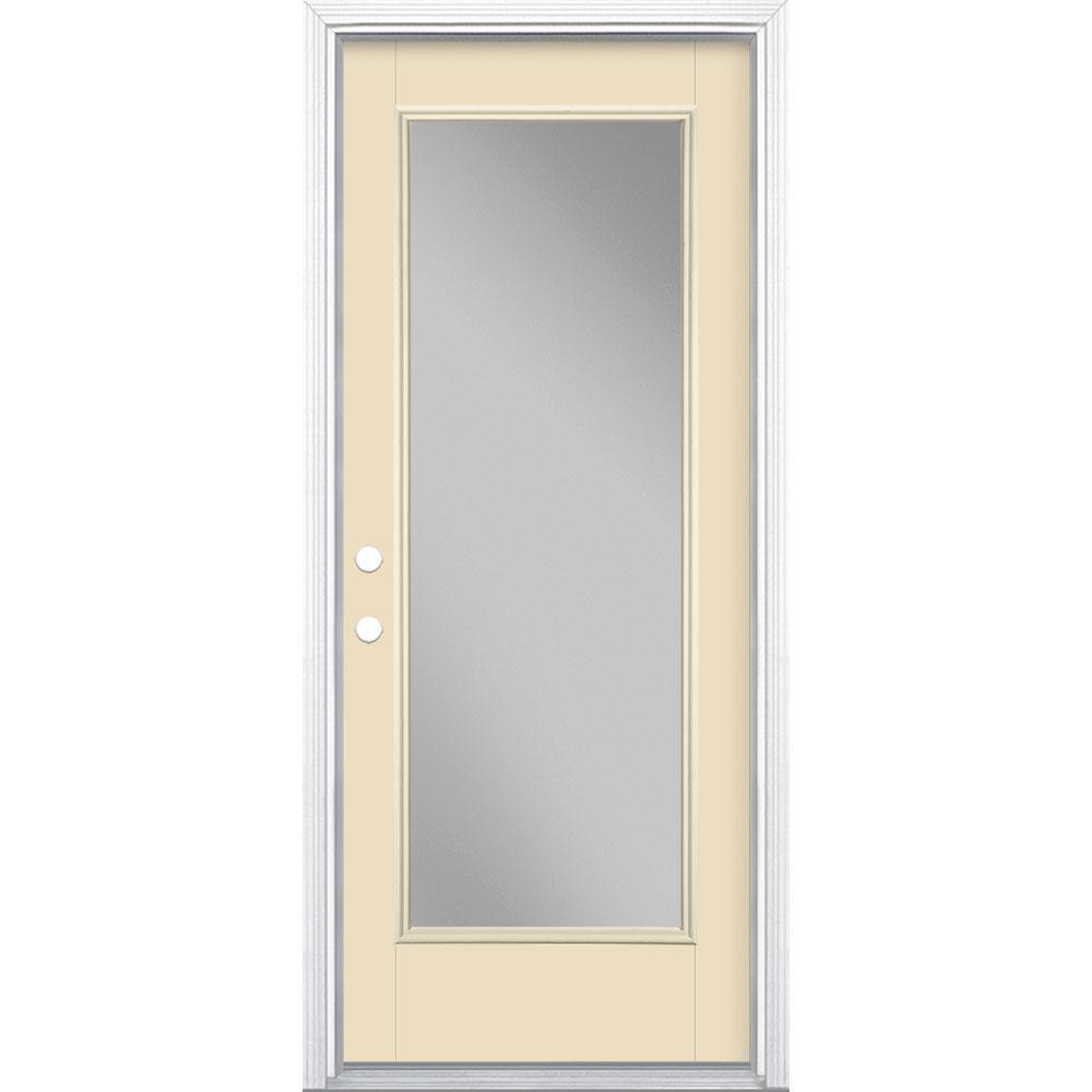 32 in. x 80 in. Full Lite Golden Haystack Right-Hand Inswing Painted Smooth Fiberglass Prehung Front Door w/ Brickmold