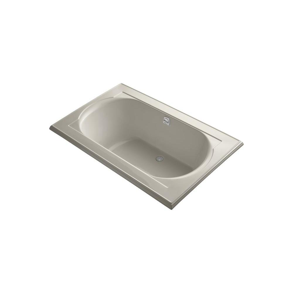 KOHLER Memoirs VibrAcoustic 5.5 ft. Rectangle Center Drain Soaking Tub in Sandbar