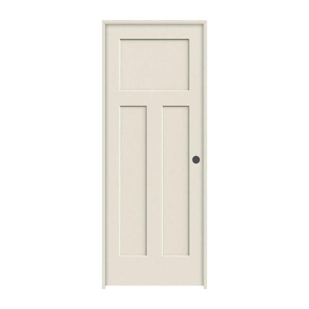 30 in. x 80 in. Craftsman Primed Left-Hand Smooth Solid Core Molded Composite MDF Single Prehung Interior Door